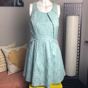 RW&Co • Mint Green Jacquard Fit and Flare Dress
